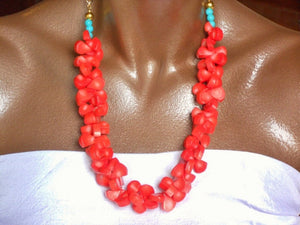 Coral Briolette Bead and Turquoise Rose Gold Link Chain Hawaiian Inspired Statement Necklace