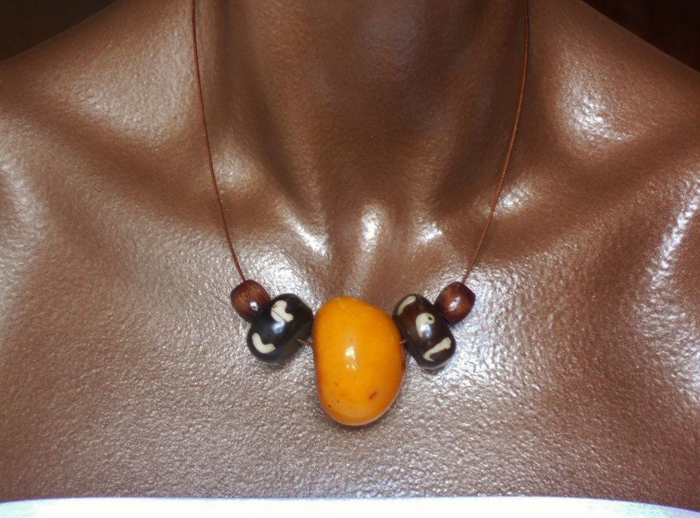 Copal Amber Resin and Vintage Batik Bone Yellow Brown Minimalist Unisex Necklace, The Maxwell