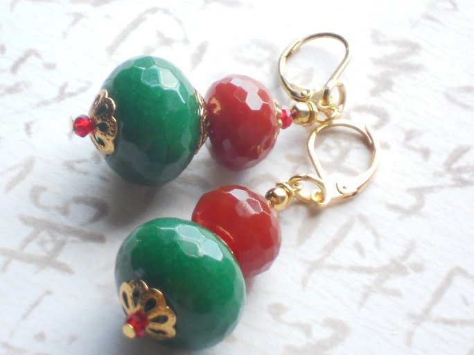 Red Carnelian and Dyed Green Jade Gold Leverback Earring, Krishna Earrings