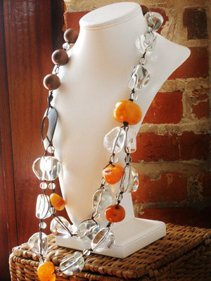 Hand Knotted Clear Resin Copal Amber and Wood OOAK Necklace, The Land of Ice and Honey