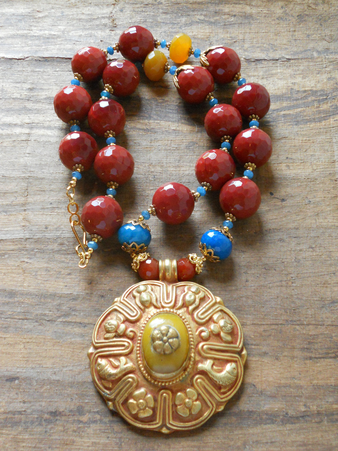 Red Carnelian Azure Blue Repousee Gold Plated Focal Pendant Nepalese Necklace