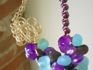 Peruvian Blue Chalcedony and Mystic Amethyst Chalcedony Freshwater Pearl Necklace, Grapes & Grace Dujour