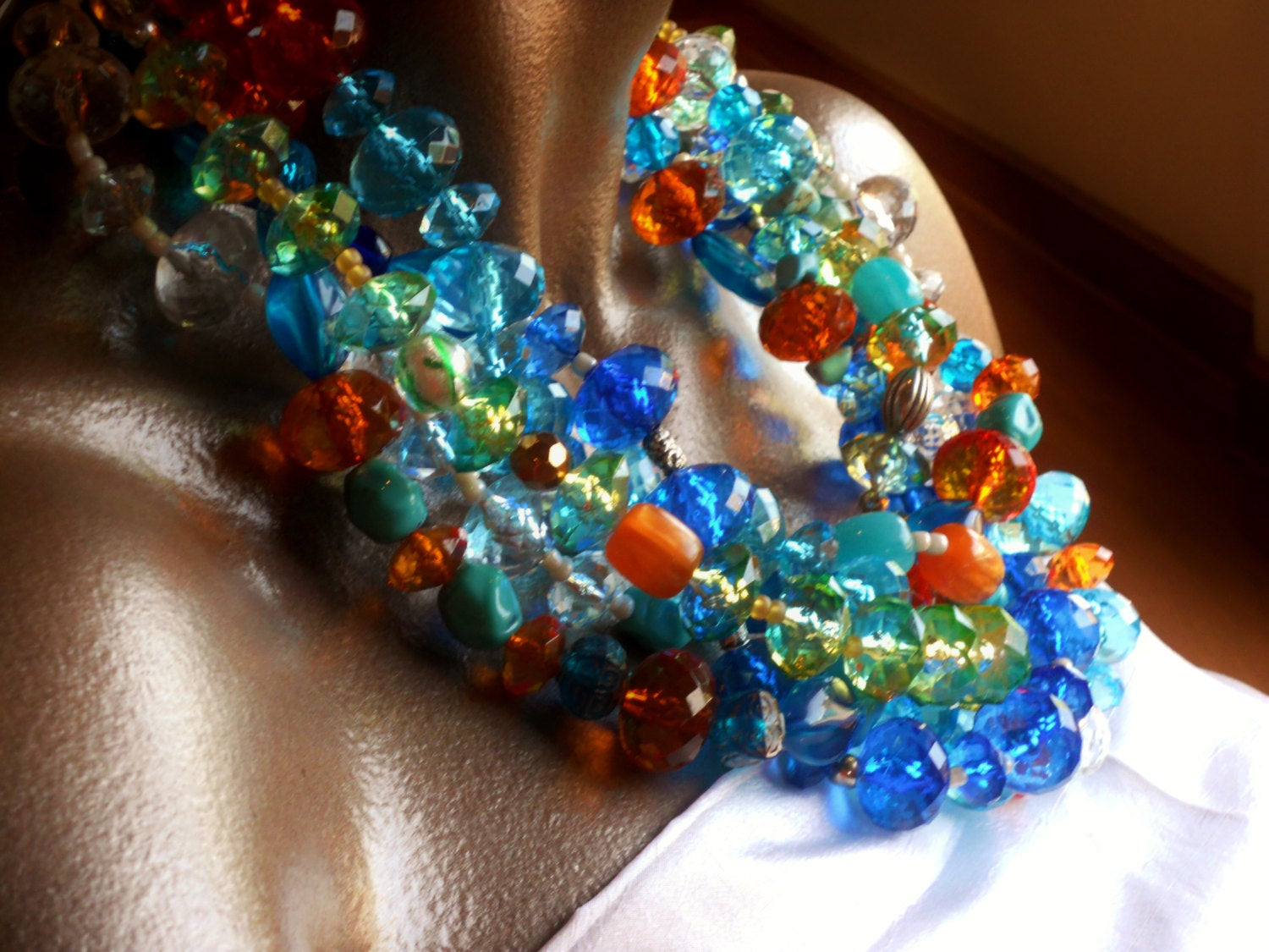Five Strand Colorful Blue Orange Red Green Clear Yellow Resin Multistrand Chunky Statement Necklace, The Cayo Largo Necklace