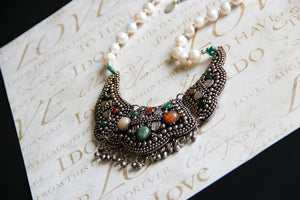 Freshwater Pearl Carnelian and Green Agate Afghani Bib Fringe Necklace, The Venice