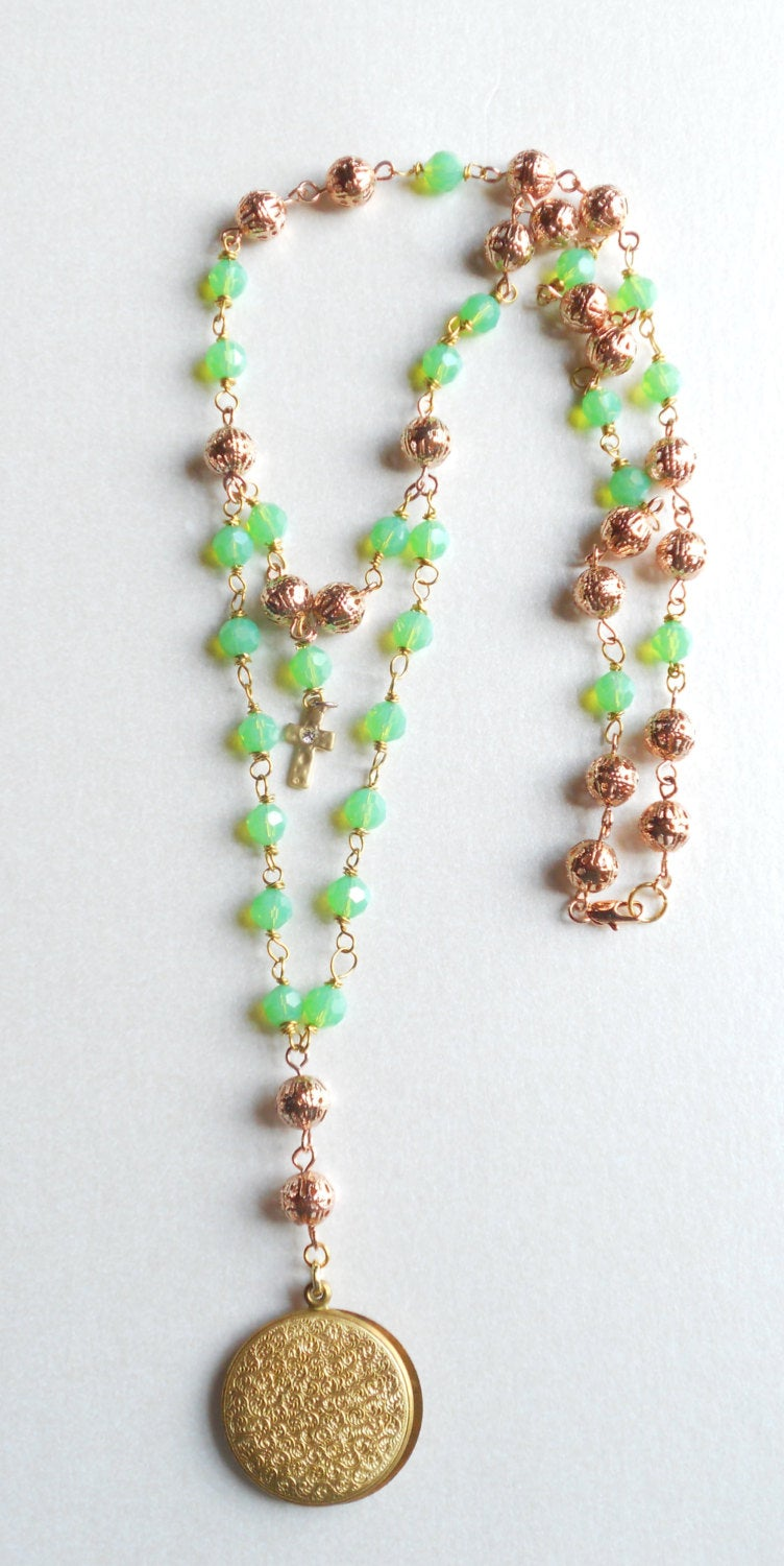 PI06131 The Infinite Possibilities Rosary Mint Green Czech Beads Necklace
