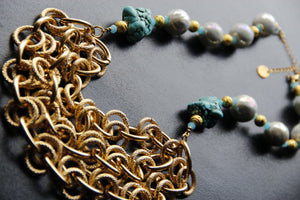 Ceramic Pearl & Turquoise Gold Chain Graduated Statement Necklace, Ibiza