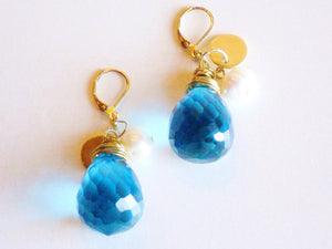 Azure Blue Large Briolette Gold Coin Pearl Charm Leverback Drop Charm Earrings