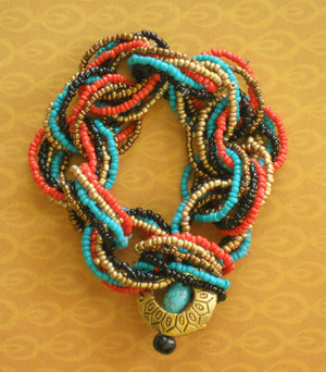 Stretch Seed Bead Red Black Turquoise Yellow Link Bracelet, Nuyorican Soul