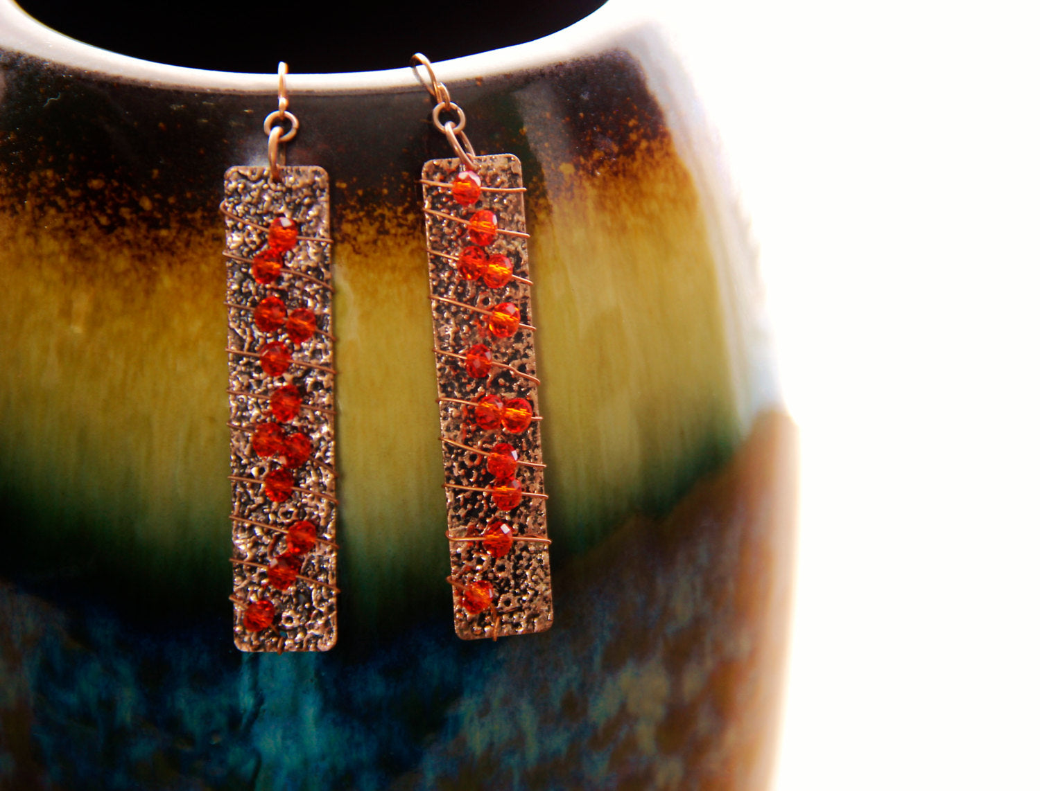 Copper Wired Wrapped Fire Orange Crystal Bicones Earrings, Kindred Family Soul
