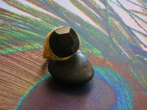 Black Grey Agate Druzy Twisted Gold Wire Wrapped Ring, AF09131 Blaque Star