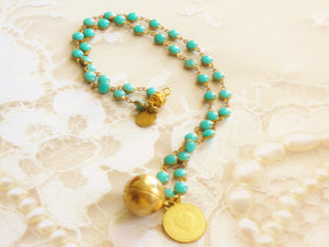Vintage Coin & Ball Brass Charm Turquoise Enamel Magnetic Clasp Necklace The Tevin Necklace Always In My Heart