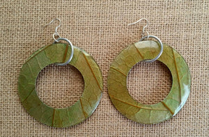 Manga Leaves Coconut Big Statement Earrings Round Eco Friendly, Mango Manga Earrings