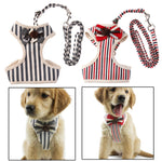 Ajustable Chest Vest Dog Harnesses Belt Bowtie Suit