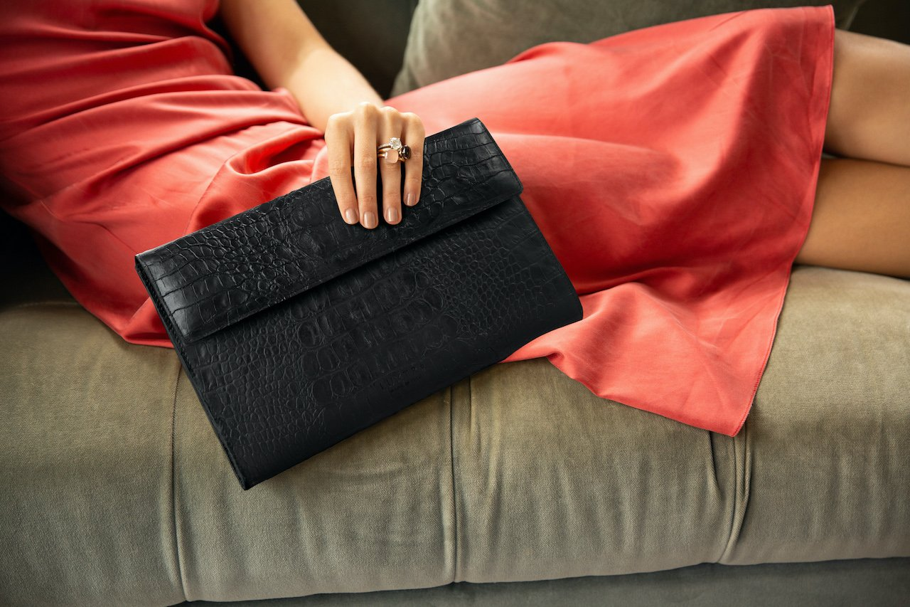 mango leather sustainable clutch