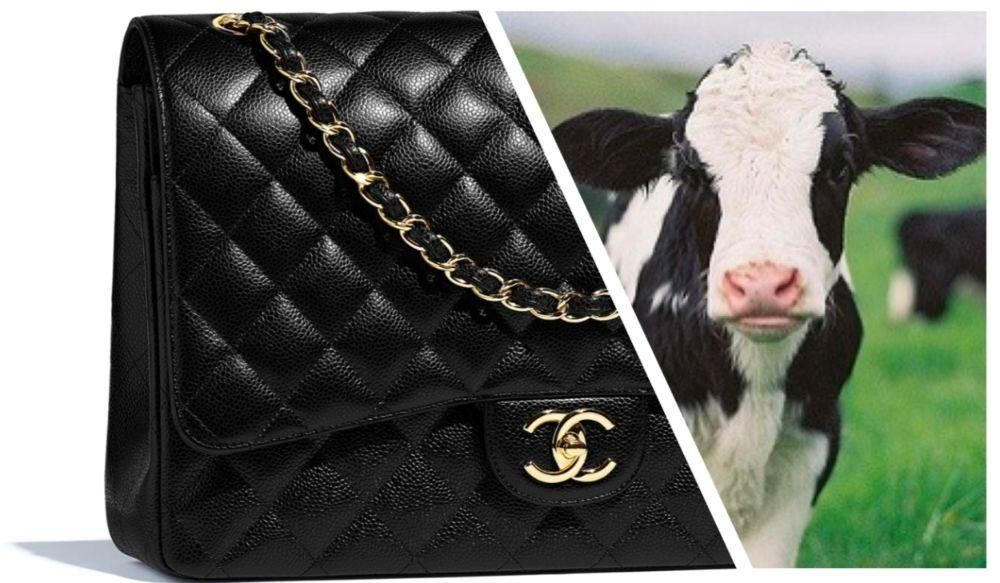 chanel baby cow leather handbag