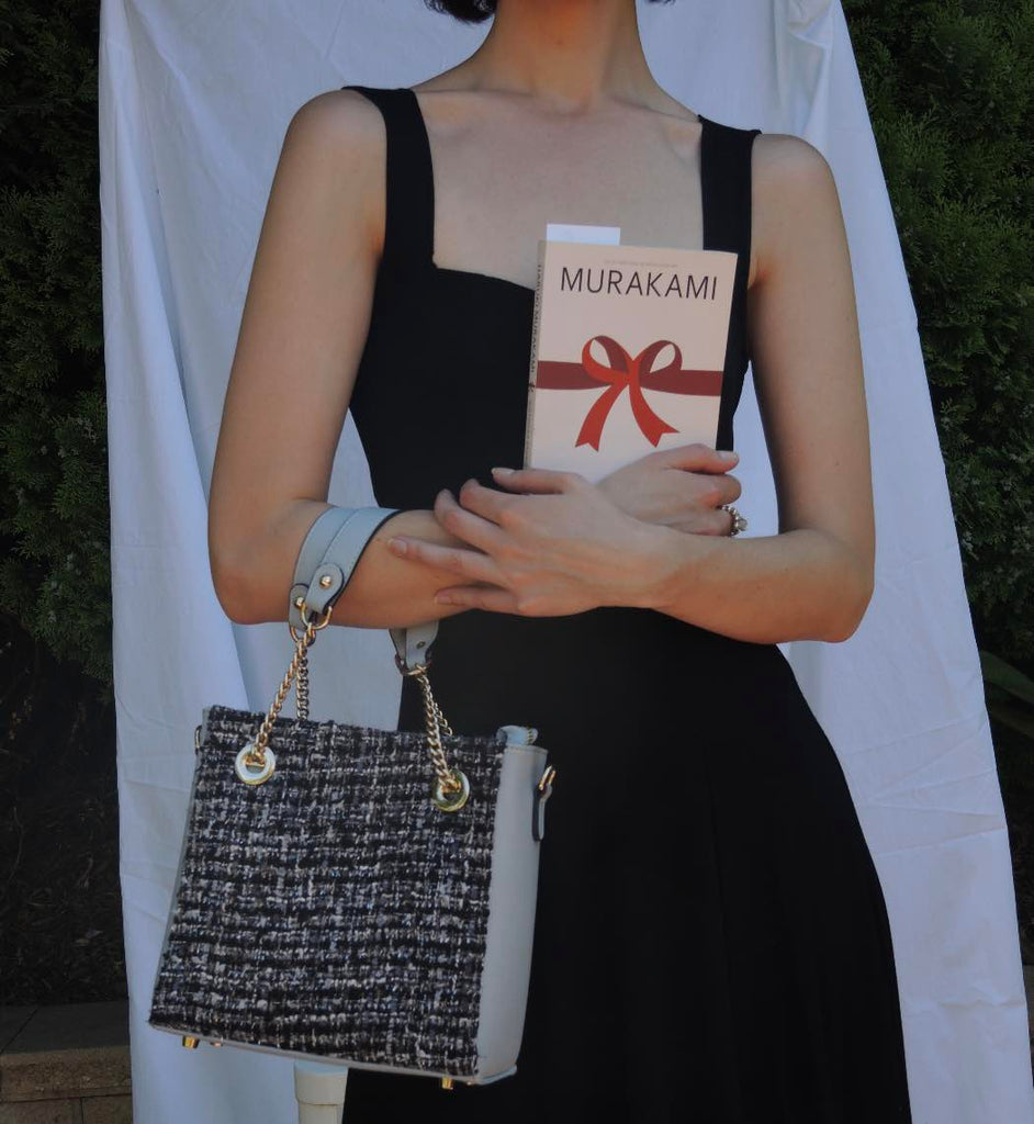 date night lbd, book and faux leather and wool vegan handbag