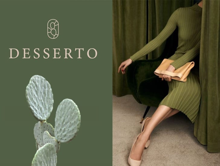 desserto cactus leather advertisement with cacti and model