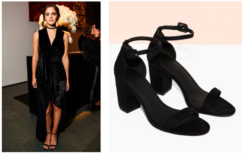 emma watson vegan leather shoes and black dress