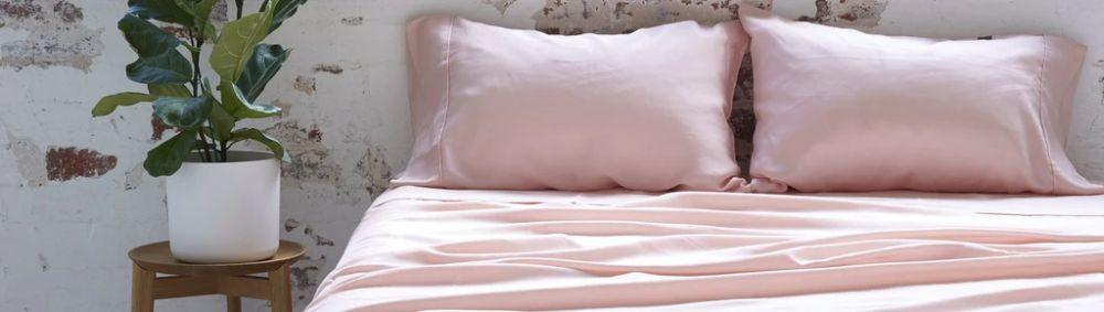 vegan ethical silk bed sheets in pink