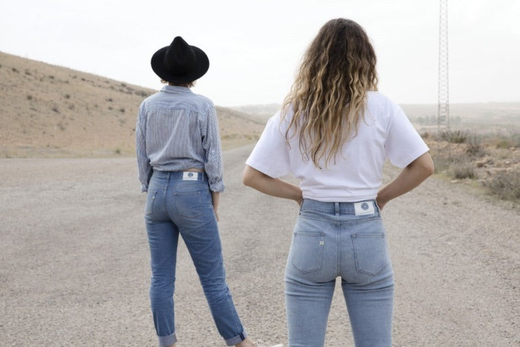 people wearing ethical denim blue jeans