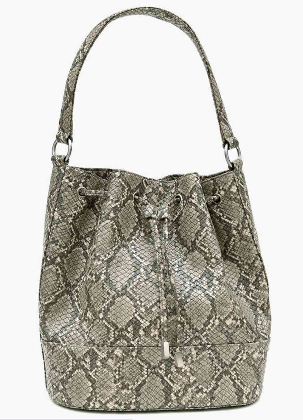snake skin vegan bucket bag