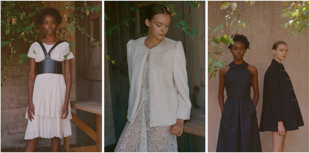 hiraeth collection white dresses and black faux leather