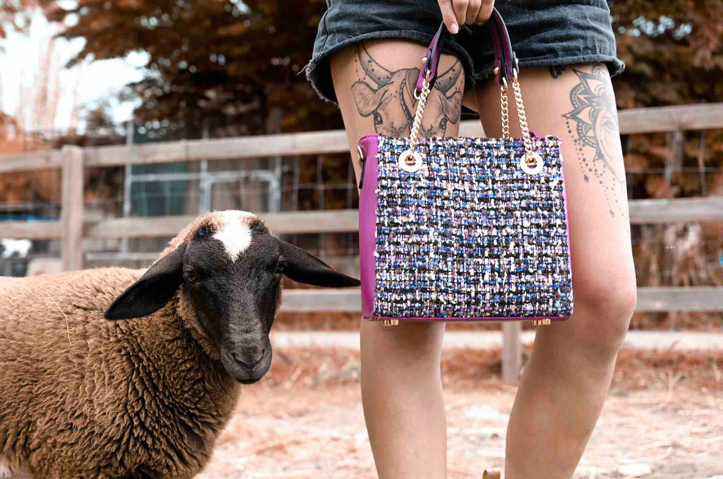 Kinds of Grace vegan bag and rescued sheep