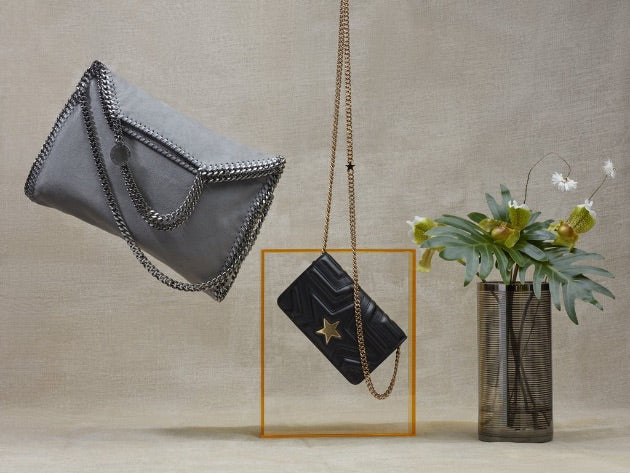 Stella McCartney luxury vegan leather handbag in grey and purse in black