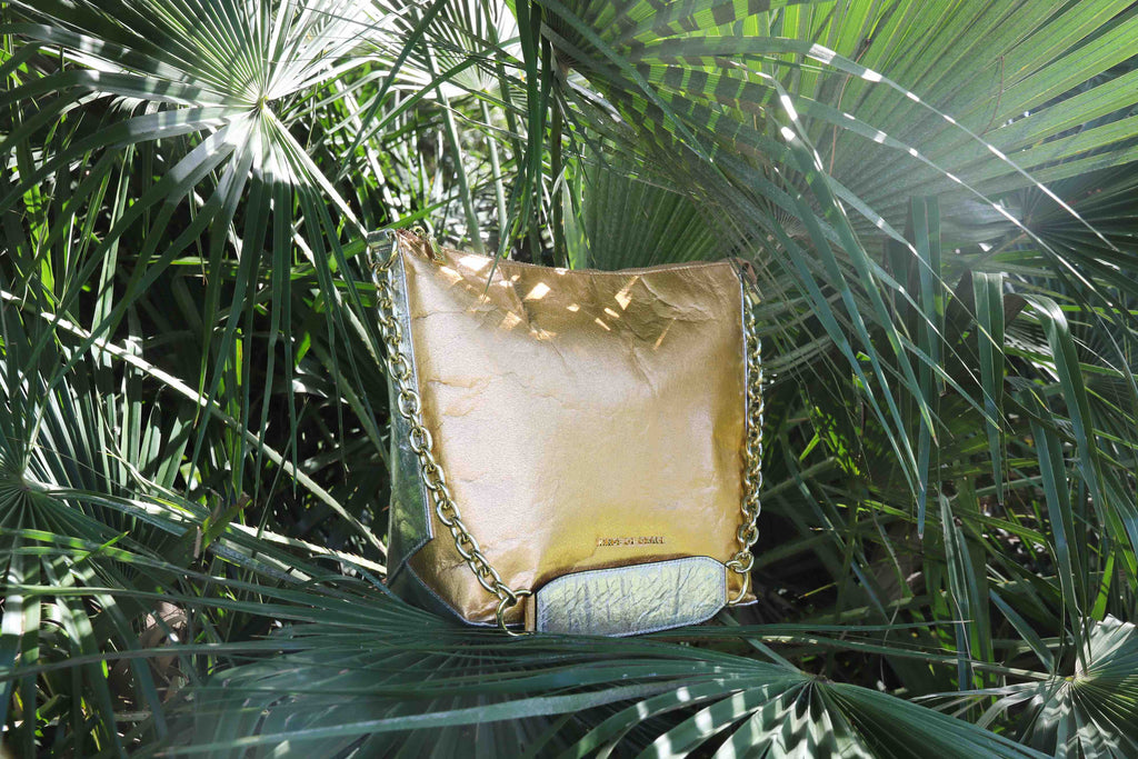 pinatex vegan bag in gold
