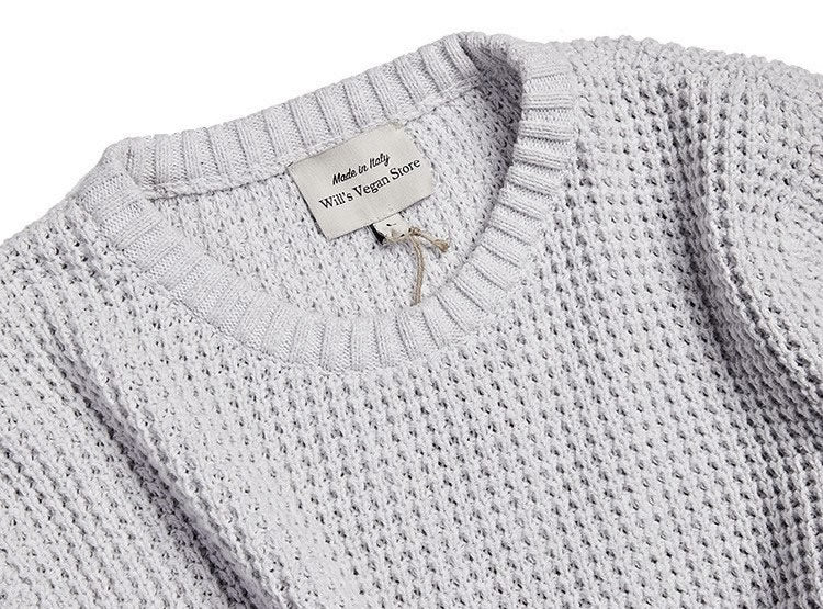 recycled cotton knitwear in grey