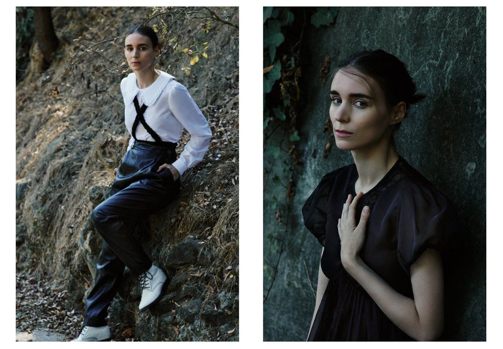rooney mara wearing hiraeth faux leather pants and white shirt