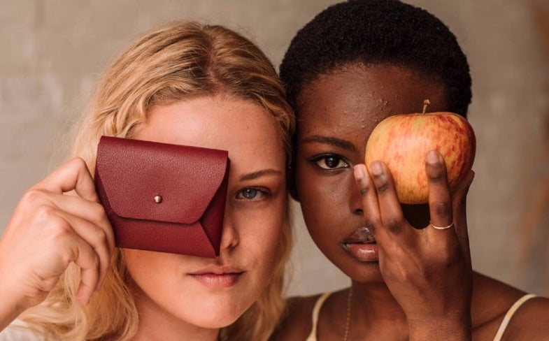 apple leather vegan purse and models