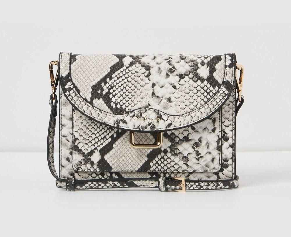 vegan cruelty free black and white snake skin handbag