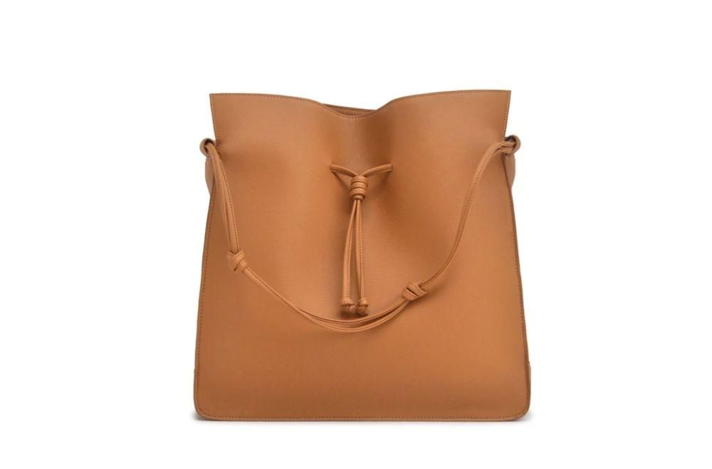 vegan tan brown bucket bag