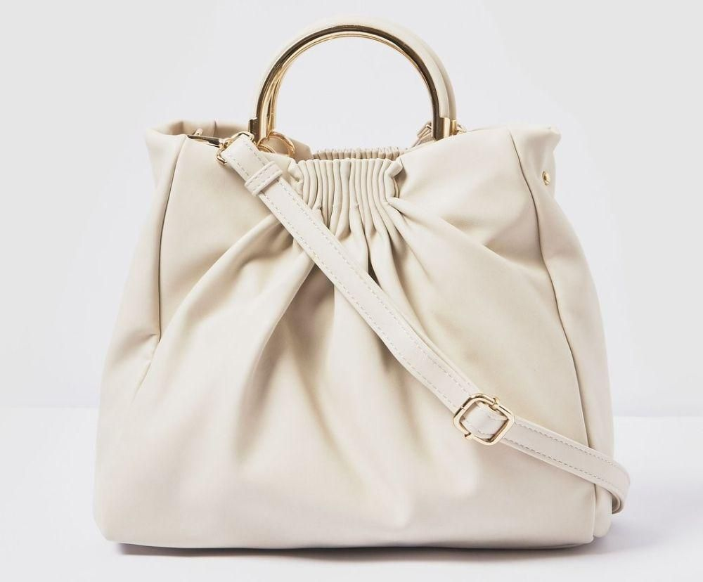 white luxury leather handbag vegan
