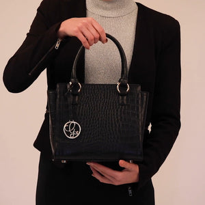 Load and play video in Gallery viewer, Video of black vegan croc skin handbag