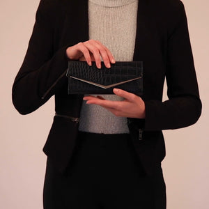 Load and play video in Gallery viewer, Black croc vegan wallet