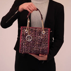 Load and play video in Gallery viewer, Purple Wool Vegan Tweed Bag