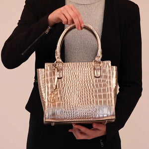 Load and play video in Gallery viewer, Gold Croc Vegan Handbag