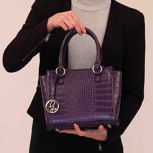 Load and play video in Gallery viewer, Purple Croc Vegan Handbag