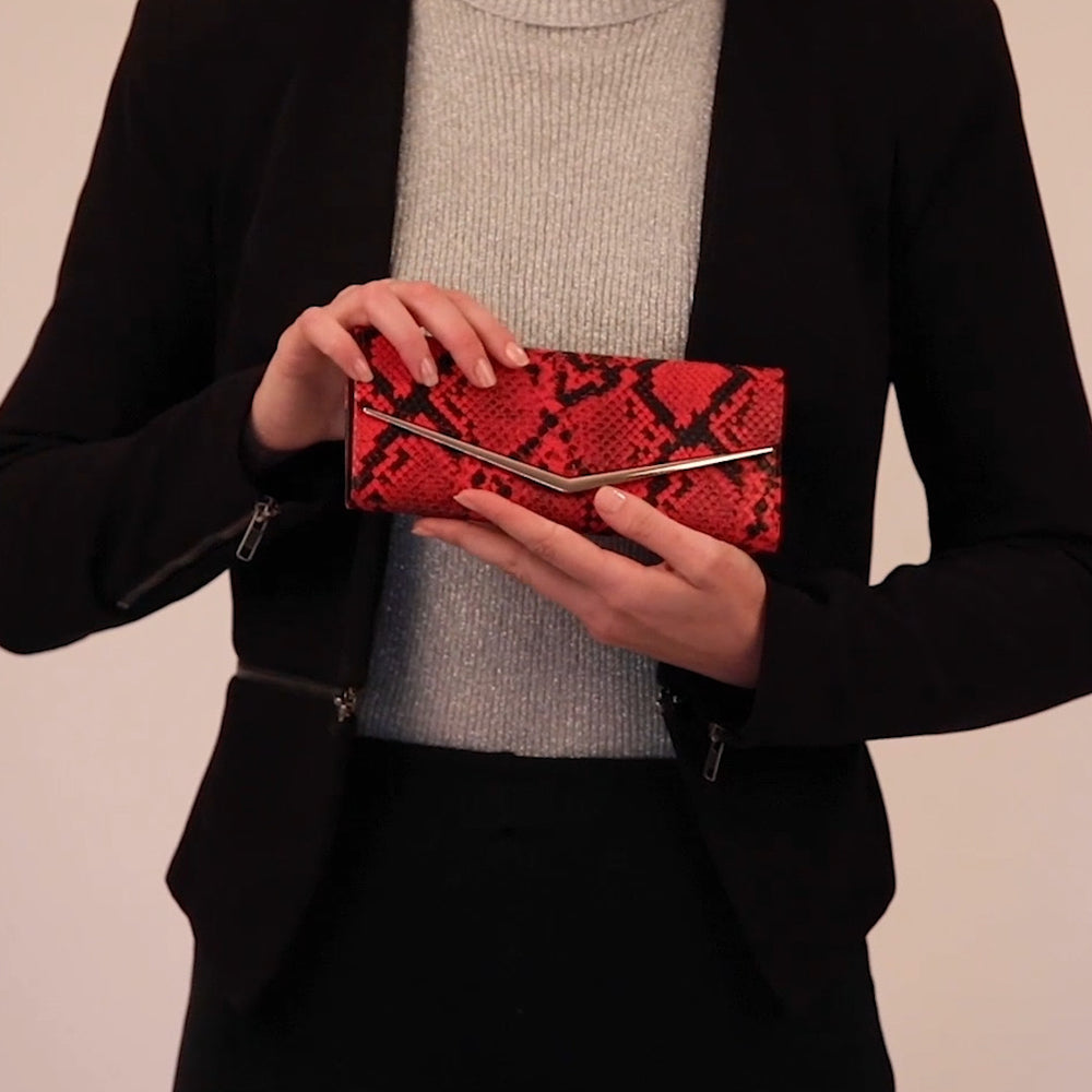 Load and play video in Gallery viewer, Red animal print vegan wallet