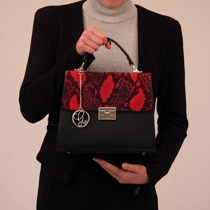 Load and play video in Gallery viewer, Red Black Vegan Satchel