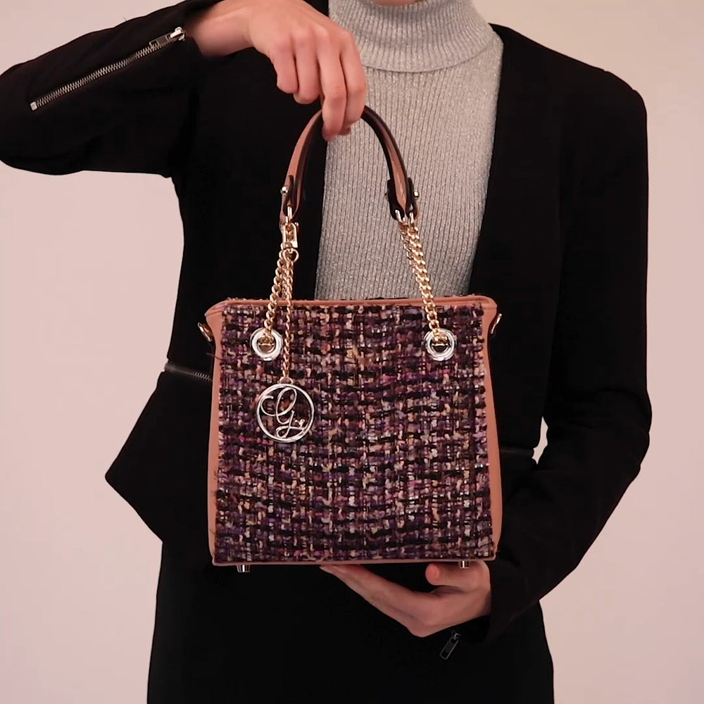Load and play video in Gallery viewer, Peach Tweed Vegan Bag