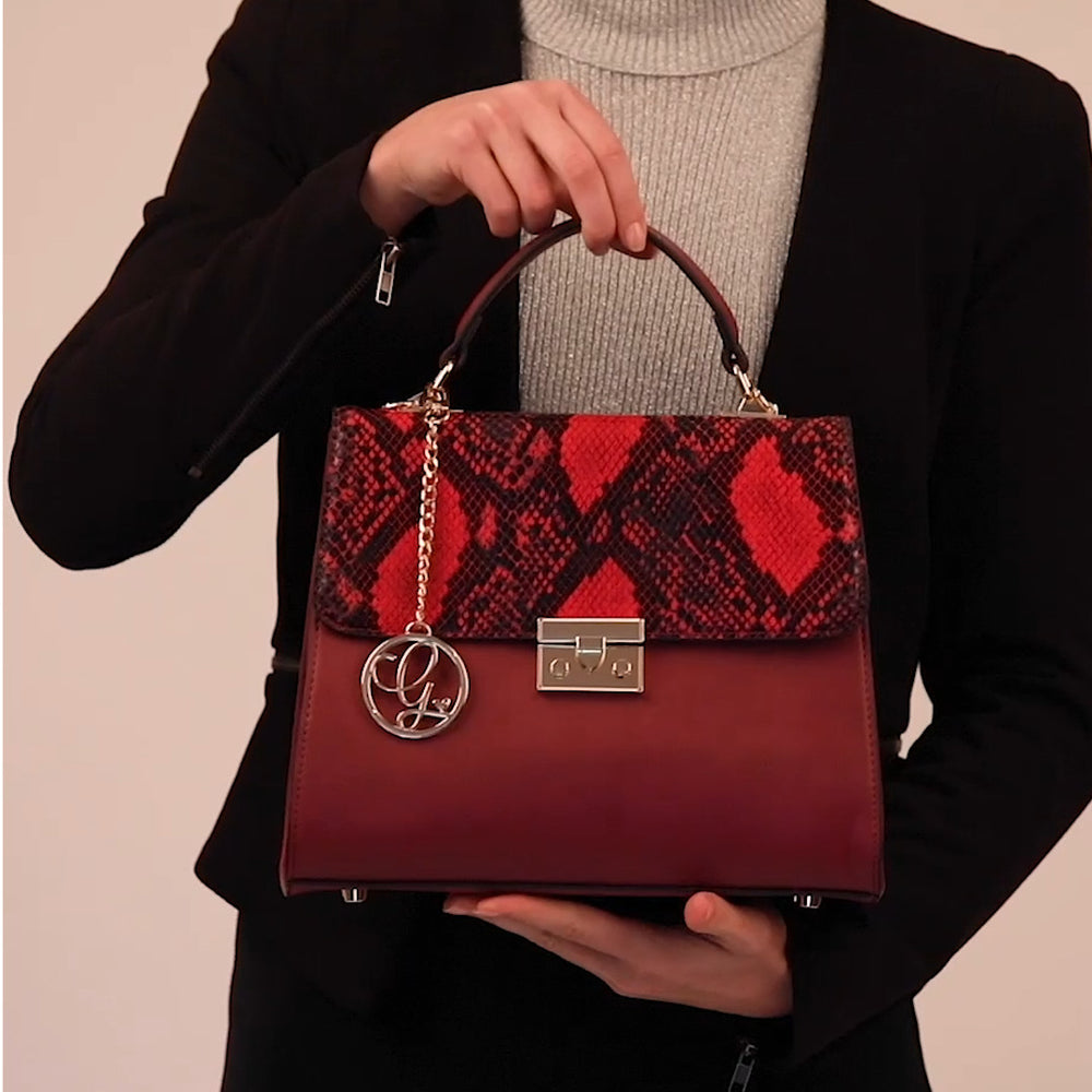 Load and play video in Gallery viewer, Red Faux Snakeskin Vegan Bag