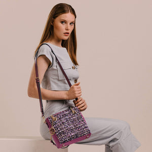 Load image into Gallery viewer, Fuscia Field Tweed Handbag