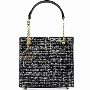 Load image into Gallery viewer, Obsidian Orchid Tweed Handbag