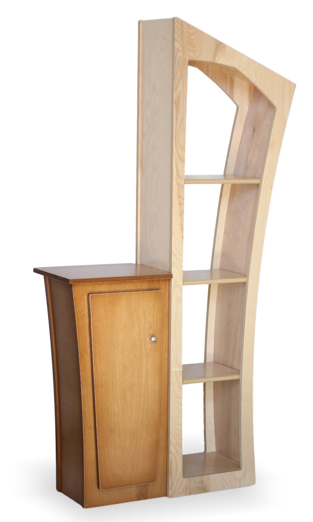 Reversible stacked bookcase and base cabinet dust furniture for Bookcase with cabinet base plans
