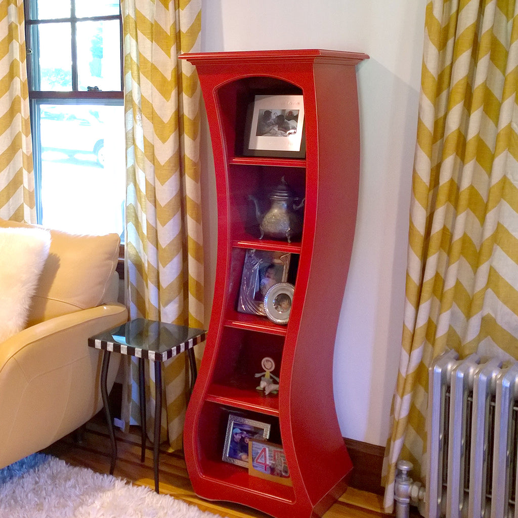 Modern bookcase - red, curved bookcase by dust furniture*
