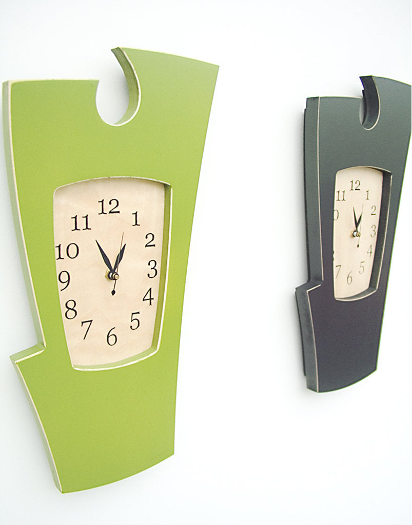 Abstract Wall Clock in Apple Green and Charcoal by Dust Furniture