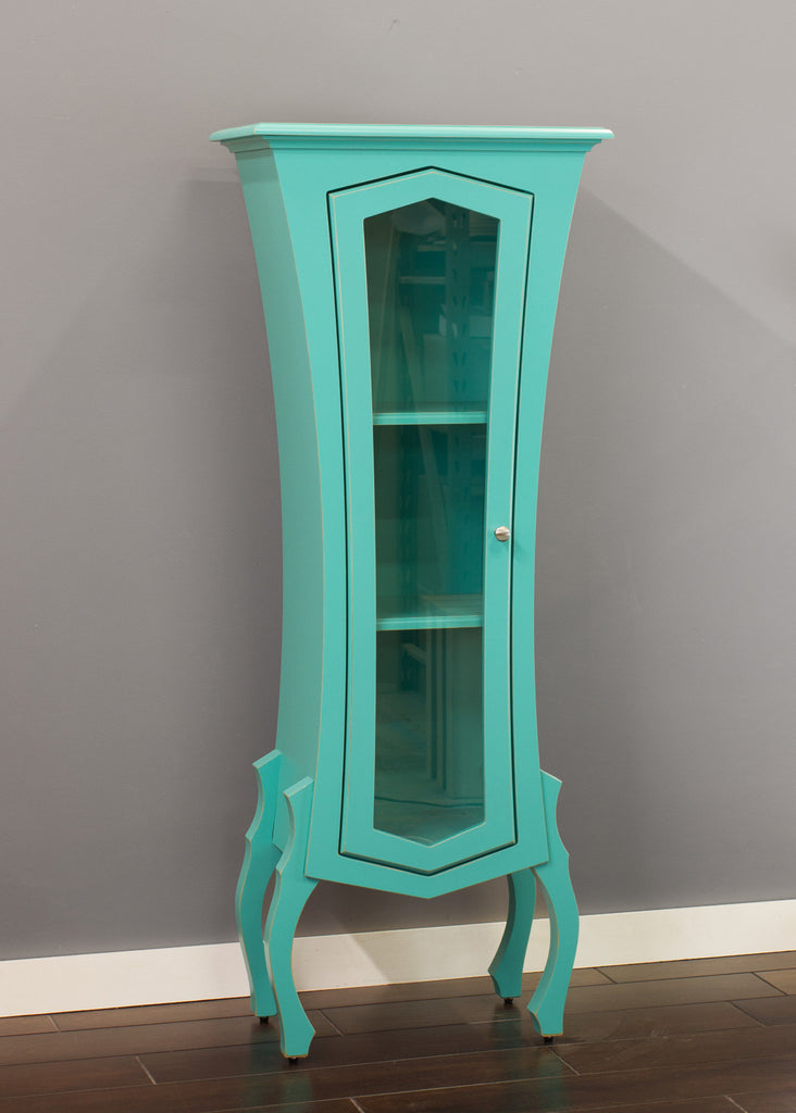 Turquoise display cabinet